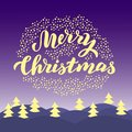 Merry Christmas typography card. Magical night scene.Trendy lettering greeting text. Xmas postcard, gift, package design. Vector