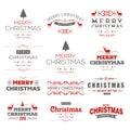Merry Christmas typography set vector