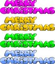Merry christmas in various colors text to wish four vibrant and fun Royalty Free Stock Photography