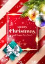 Merry Christmas Vector Background. Xmas 2020 Cover Design. Party Invitation, Greeting Card, Poster Template in Red and Rose Gold Royalty Free Stock Photo