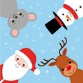 Merry christmas vector banner design with christmas character like santa claus, reindeer, mouse and snowman