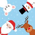 Merry christmas vector banner design with christmas character like santa claus, reindeer, mouse and snowman.