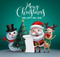 Merry christmas vector banner design with christmas character like santa claus, reindeer and snowman