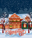 Merry Christmas vector illustration. Snowy town at holiday eve. Merry Christmas and Happy New Year greeting card