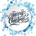 Merry Christmas vector lettering. Handwritten greeting card. Handlettering typography poster. White background with blue snowflake Royalty Free Stock Photo