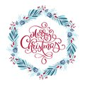 Merry Christmas vector scandinavian calligraphic vintage text. Winter Wreath with xmas phrase. Greeting card template Royalty Free Stock Photo