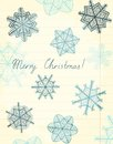 Merry christmas vector sheet of yellowed lined paper with beautiful artistic snowflakes Stock Photo