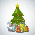 Merry christmas vector xmas greeting card with xmas tree gift boxes and toys Stock Photography