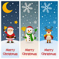 Merry christmas vertical banners a collection of three wishing a with santa claus holding a jingle bell a snowman with a broom and Royalty Free Stock Photos