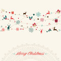 Merry christmas vintage garland card colors elements greeting illustration eps vector file organized in layers for easy editing Royalty Free Stock Images