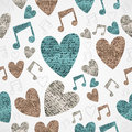 Merry Christmas vintage music love grunge seamless pattern.