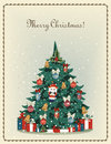 Merry Christmas! vintage old greeting card Royalty Free Stock Photo