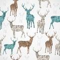 Merry Christmas vintage reindeer grunge seamless pattern. Royalty Free Stock Photo