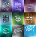 Merry christmas vintage retro typo backgrounds background set for your greetings or invitation covers Royalty Free Stock Photography