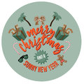 Merry christmas warm locale badge with sunglasses flip flops and gingerbread man wearing board shorts eps vector royalty free Stock Images