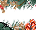 Merry christmas warm locale border with sunglasses flip flops and gingerbread man wearing board shorts eps vector royalty free Royalty Free Stock Images