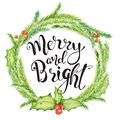 Merry Christmas watercolor card with floral winter elements. Happy New Year lettering quote Merry and Bright