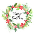 Merry Christmas.Watercolor floral wreath