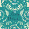 Merry christmas white trees background leaves twigs antlers and gifts on the blue Stock Photos