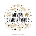 Merry Christmas. Winter Holiday greeting card with calligraphy. Royalty Free Stock Photo