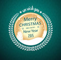 Merry christmas wish in circular badge Royalty Free Stock Photo