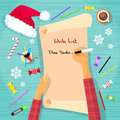 Merry christmas wish list to santa clause child hand writing pen on paper desk flat vector illustration Royalty Free Stock Image