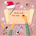 Merry christmas wish list to santa clause child hand writing pen on paper desk flat vector illustration Stock Image