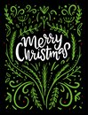 Merry Christmas. Wishes and Winter Holiday Elements. Royalty Free Stock Photo