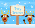 Merry Christmas Wooden Sign Royalty Free Stock Photo