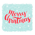 Merry Christmas words. Brush lettering text at blue vintage background. Vector greeting card design. Royalty Free Stock Photo