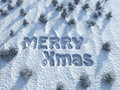 Merry Christmas,  words on snow Stock Image