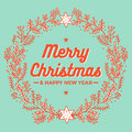 Merry christmas, wreath, happy new year greeting card Royalty Free Stock Photo