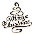 Merry christmass typography with christmas tree shaped swirls Royalty Free Stock Images