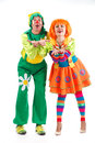 Merry clowns two at studio white background Stock Image