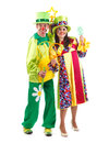 Merry clowns two at studio white background Royalty Free Stock Image