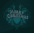 Merry cristmas black christmas card of color with an openwork ornament Royalty Free Stock Images
