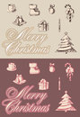 Merry cristmas emblems set of new year s attributes Stock Photos