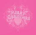 Merry cristmas pink christmas card of color with an openwork ornament Royalty Free Stock Photo