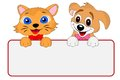 Merry dog and cat hold a clean banner