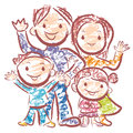 Merry family of happy time. Home and Family Character Design Ser Stock Image