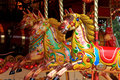 Merry go round horses in a carousel Royalty Free Stock Images