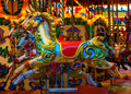 Merry go round horses vintage at a funfair Royalty Free Stock Photo