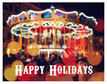 Merry go round illuminated at night new year greeting on background with blurred carousel and bokeh merry christmas and happy ne Stock Photography