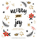 Merry and Joy. Christmas greeting card with calligraphy. Royalty Free Stock Photo