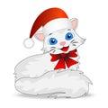 Merry kitten in a christmas cap