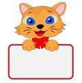 Merry kitten holds a clean banner