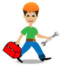 Merry man builder with a gripsack and wrench in hands vector illustration Royalty Free Stock Photos