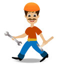 Merry man builder with a hammer and wrench in hands Royalty Free Stock Photos