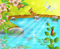 Merry pond in the spring vector illustration of a insects and flowers a landscape Stock Photo
