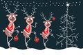 Merry reindeer and christmas tree comic strip Stock Photography